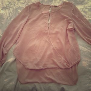 Pale pink sheer blouse